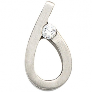 Anhänger Tropfen 950 Platin matt 1 Diamant Brillant PlatinAnhänger