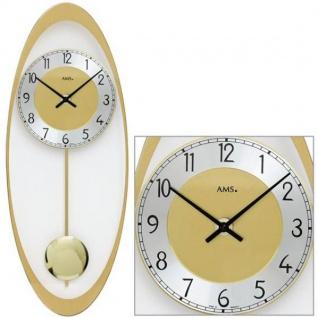 AMS 7417 Wanduhr Quarz mit Pendel golden oval Pendeluhr Glas und Alu