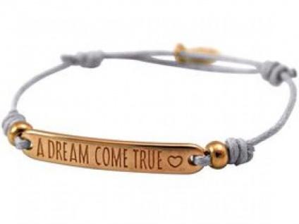 Damen Armband Gravur A DREAM COME TRUE Rose Vergoldet Hellgrau