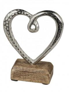Herz auf Sockel Alu-Herz Holzherz zum stellen mi Mangoholz silber natur 13 cm