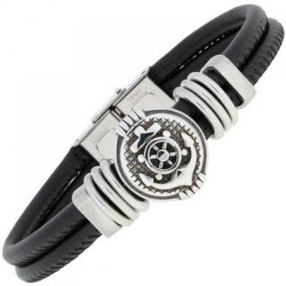 Armband Anker Leder schwarz mit Edelstahl teil matt 23 cm