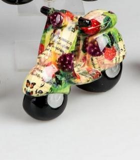Trendige Spardose Roller Flower Power in Grün Bunt aus Keramik, 20 cm