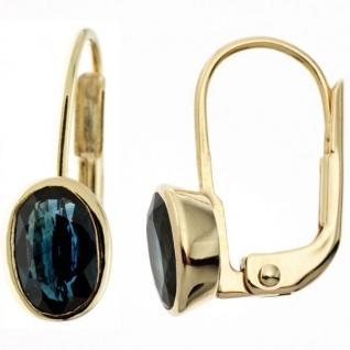 Boutons oval 333 Gelbgold 2 Saphire blau Ohrringe Ohrhänger