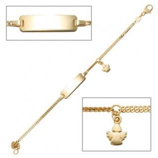 Schildband Engel 585 Gold Gelbgold 14 cm Gravur ID Armband Schutzengel