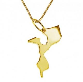 MOZAMBIK Kettenanhänger aus massiv 585 Gelbgold mit Halskette