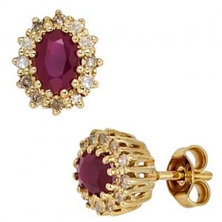 Ohrstecker 585 Gold Gelbgold 24 Diamanten 0, 24 ct. 2 Rubine rot