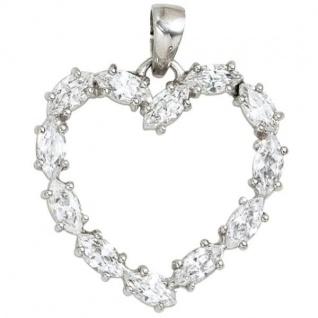 Anhänger Herz 925 Sterling Silber rhodiniert 12 Zirkonia