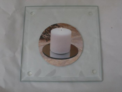 Kerzenteller quadratisch aus Glas 12, 5 cm