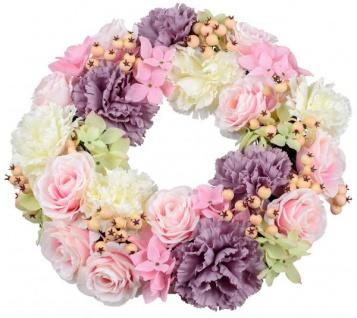 künstlicher Blumenkranz Türkranz rosa lila weiß Pfingstrosen40 cm