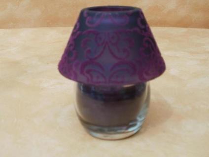 Kerzenlampe in Lila mit Ornamentverzierung, 11 cm hoch