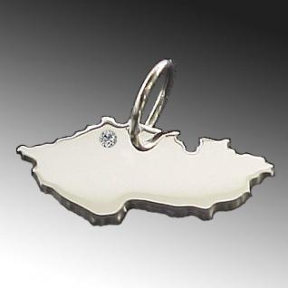 TSCHECHIEN Kettenanhänger aus 925 Silber mit Brillant am Wunschort