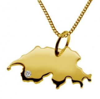 SCHWEIZ Kettenanhänger mit Brillant aus 585 Gelbgold mit Halskette