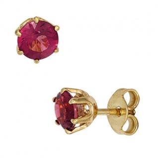 Ohrstecker 585 Gelbgold 2 rosa Turmaline Ohrringe