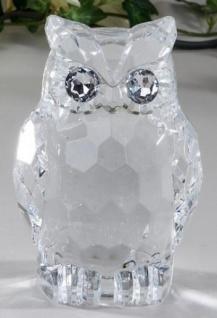 formano Dekofigur Eule aus Acryl, klar mit silbernen Augen, 14 cm