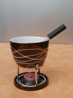 Fondue-Set Streifen aus Keramik