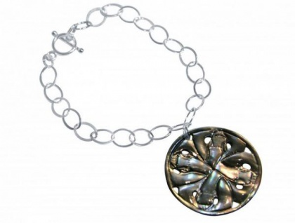 Armband 925 Silber mit Perlmutt-Medaillon Grau 3 cm
