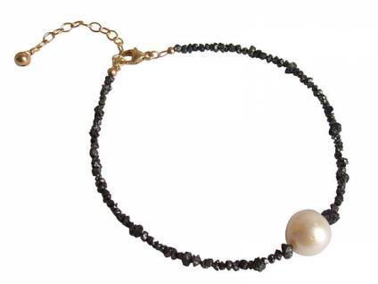 Gemshine Damen Armband Diamant Schwarz Perle Weiß