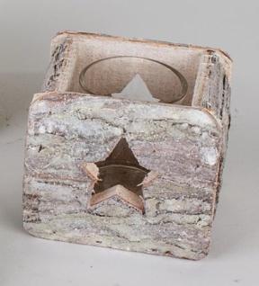 formano Windlicht aus Holz mit Glaseinsatz und Sternöffnungen, 9 cm