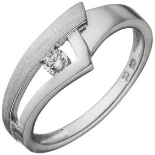 Damen Ring 925 Sterling Silber teil matt 1 Zirkonia