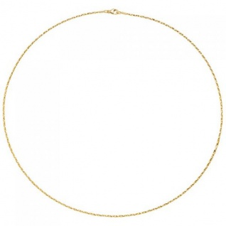 Collier Halskette 750 Gold Gelbgold diamantiert 1 mm 42 cm kette