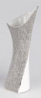 Deko-Vase aus Keramik in Weiß Silber Magic, 38 cm
