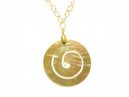 Halskette Medaillon Vergoldet Perlmutt Creme Gold 5 cm