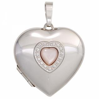 Medaillon Herz 925 Sterling Silber rhodiniert Perlmutt-Einlage
