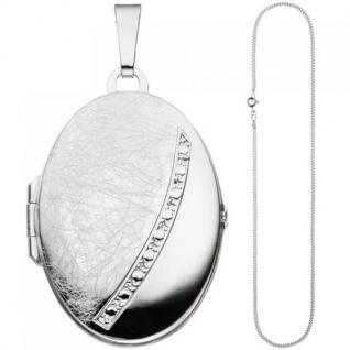 Medaillon oval Anhänger zum Öffnen für 2 Fotos 925 Silber mit Kette 50 cm - Vorschau 2