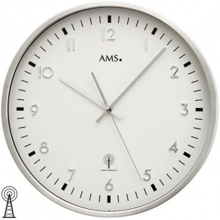 AMS 5914 Wanduhr Funk analog silbern rund aus Aluminium gebürstet