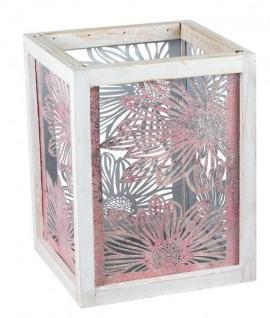 Windlicht mit Metallblumen-Motiv vintage Kerzenhalter Holzwindlicht für Tisch-Deko Deko-Laterne retro grau rosa 20x28cm groß