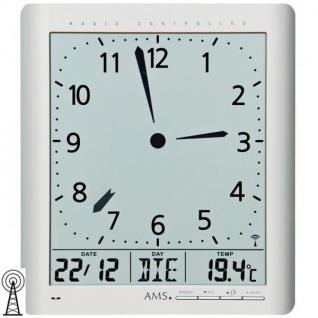 AMS 5898 Wanduhr Tischuhr Funk digital silbern Datum Thermometer