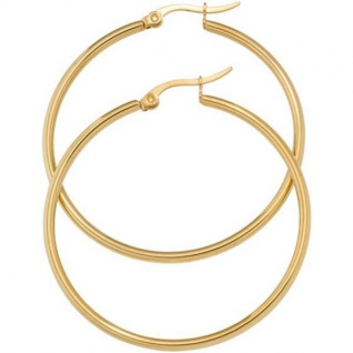 Creolen rund Edelstahl gold vergoldet 43, 7 mm Ohrringe