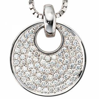 Anhänger rund 585 Weißgold 78 Diamanten Brillanten 1, 45 ct. 23, 5 mm