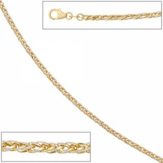 Zopfkette 585 Gelbgold Weißgold kombiniert 45 cm - 1, 9 mm Halskette - Vorschau 2