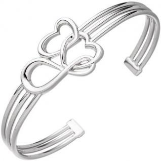 Armspange / offener Armreif Herz Herzen Unendlich 925 Sterling Silber