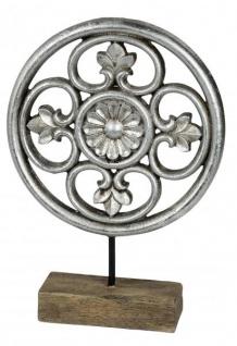 Skulptur Deko Ornament antik silber aus Kunststein und Holz 20 x 28 cm