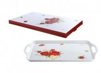 GILDE Tablett aus Melamin im Rosendesign, 37, 5 x 23 cm