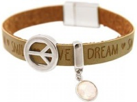 Gemshine Damen Armband Frieden Peace WISHES Rosenquarz Braun Sand
