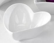 Deko Schale in Herzform aus Porzellan in Weiß, 12 cm