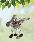Windspiel Schmetterling aus Metall, kupferfarben