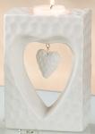 GILDE Teelichthalter Herz weiß glasiert marmoriert, 6 x 10 x 14 cm