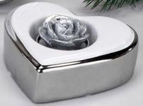 formano Deko-Herz als Teelichthalter, 10 cm weiß-silber