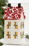 Beleuchtetes Deko-Haus mit LED Lämpchen aus Keramik, 10 x 6, 5 cm