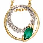 Anhänger rund 585 Gold Gelbgold 2 Diamanten 0, 01 ct. 1 Smaragd grün