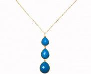 Halskette Anhänger 925 Silber Vergoldet Türkis Blau CANDY Tropfen