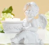 GILDE Engel Lucy mit Teelichthalter links, antik weiß, 8 x 11 x 10 cm