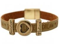 Gemshine Damen Armband Herz Liebe WISHES Braun Sand Survivor Believe