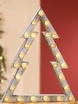 GILDE Deko Tannenbaum mit 25 LEDs, natur, weiß gewischt, 38 cm