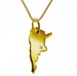 ARGENTINIEN Kettenanhänger mit Brillant aus 585 Gelbgold mit Halskette