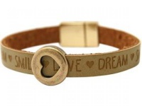 Damen Armband Herz Liebe WISHES Braun Sand Magnetverschluss